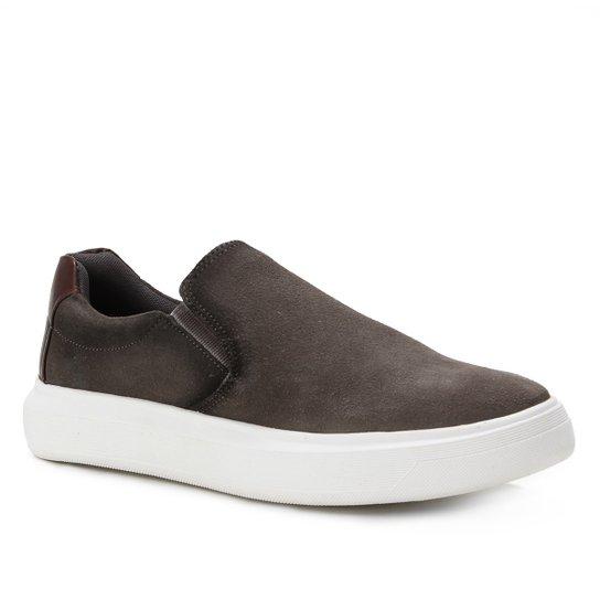 Slip On Couro Shoestock Suede Masculino - Cinza