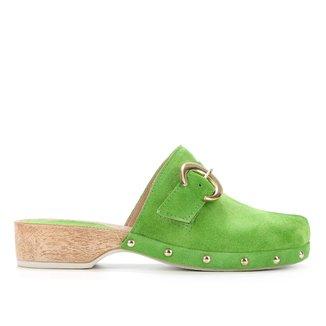 Tamanco Couro Shoestock Clog Camurção Fivela