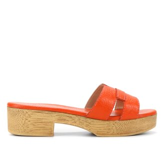 Tamanco Couro Shoestock Clog Pesponto