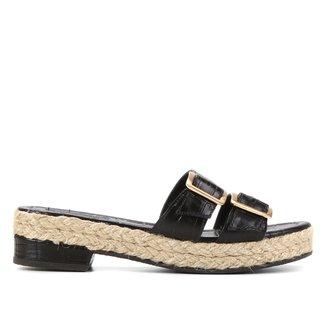 Tamanco Couro Shoestock Croco Fivelas