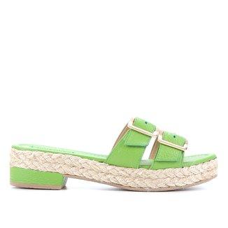Tamanco Couro Shoestock Fivelas Corda