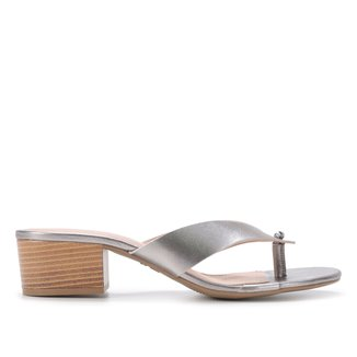 Tamanco Couro Shoestock Metalizado Salto Bloco