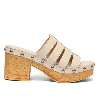 Tamanco Couro Shoestock Salto Alto Clog Tachas