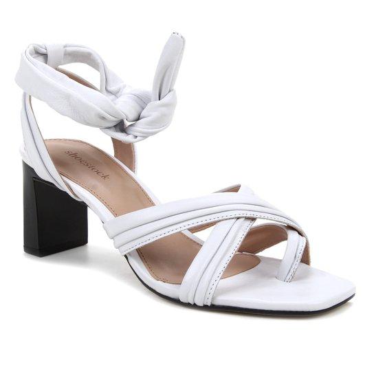 Tamanco Couro Shoestock Soft Amarração - Branco
