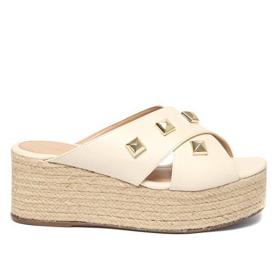 Tamanco Plataforma Shoestock Corda Rebites - Off White