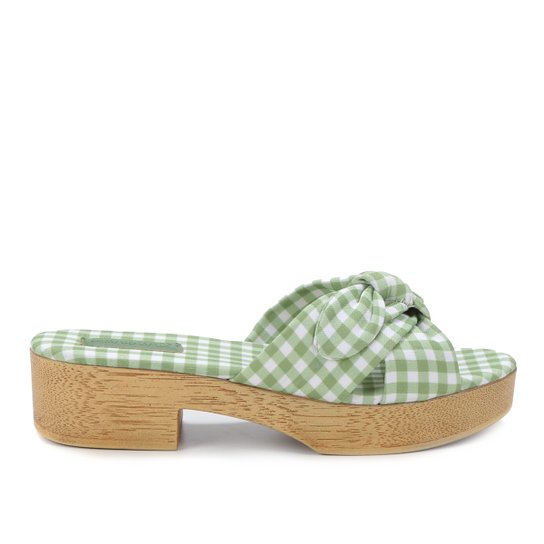 Tamanco Shoestock Clog Xadrez Vichy Laço - Verde
