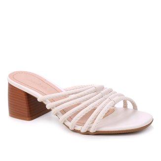 Tamanco Shoestock Tiras Pesponto Salto Médio
