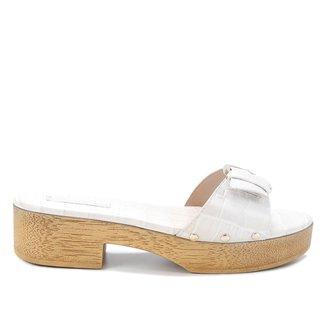 Tamancos Shoestock Clog Couro Croco Fivela