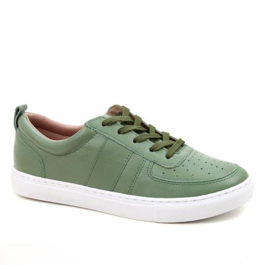 Tênis Couro Shoestock Basic Comfy Feminino - Verde Militar