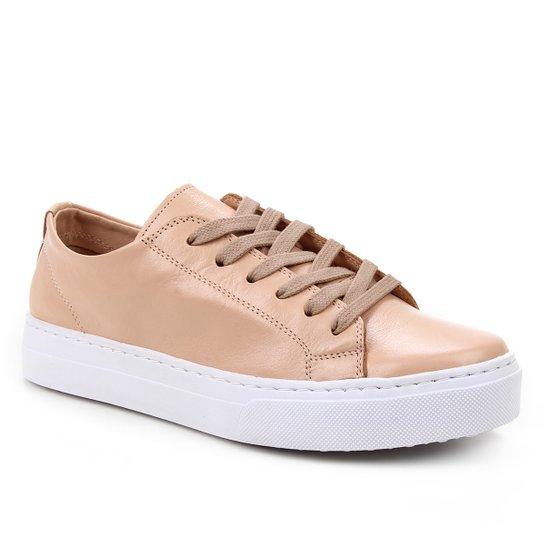 Tênis Couro Shoestock Basic Sem Forro Feminino - Nude