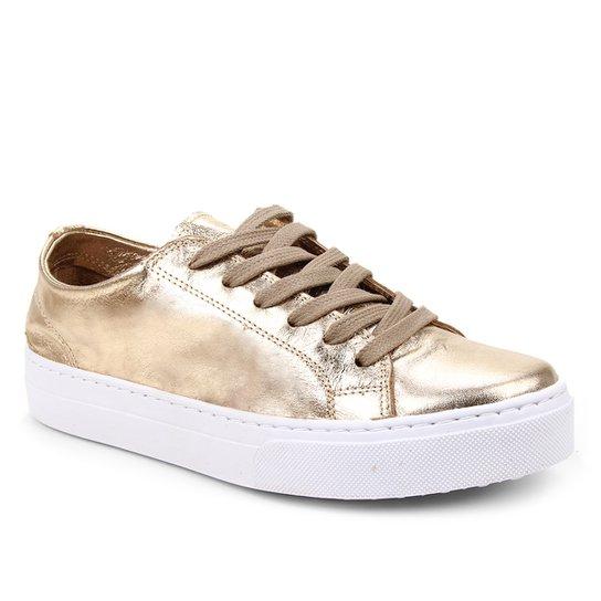 Tênis Couro Shoestock Basic Sem Forro Feminino - Dourado