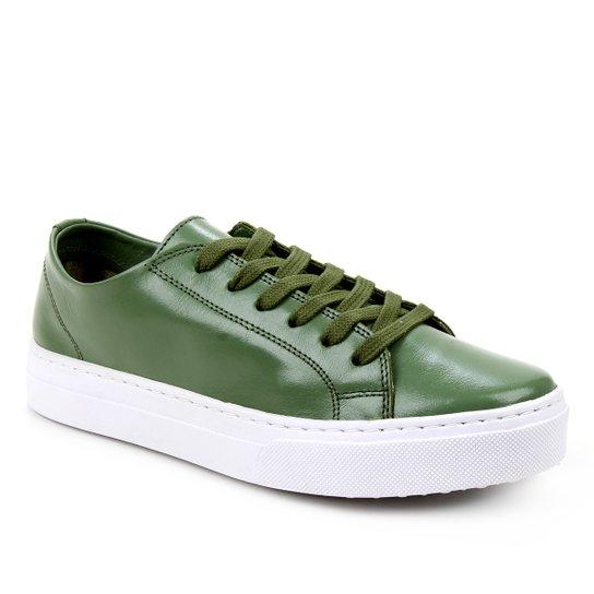 Tênis Couro Shoestock Basic Sem Forro Feminino - Verde Militar