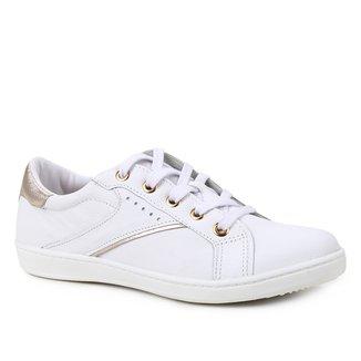 Tênis Couro Shoestock Básico Cadarço Recortes Feminino