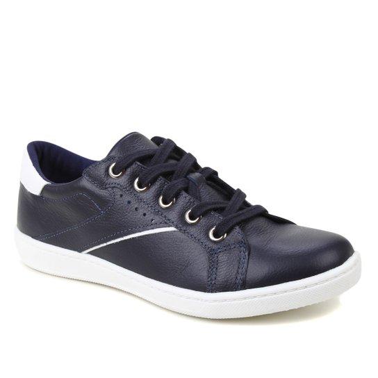 Tênis Couro Shoestock Básico Cadarço Recortes Feminino - Marinho+Branco