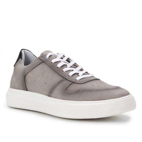 Tênis Couro Shoestock Básico Liso Masculino - Cinza