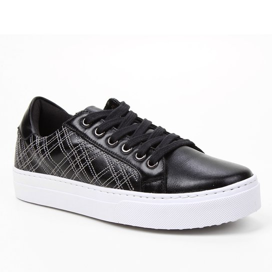 Tênis Couro Shoestock Bordado Feminino - Preto