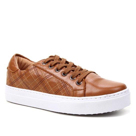 Tênis Couro Shoestock Bordado Feminino - Caramelo