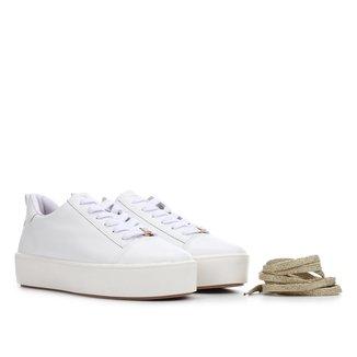 Tênis Couro Shoestock Cadarço Duplo Lurex Feminino