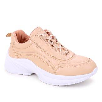 Tênis Couro Shoestock Cadarço Rolete Feminino