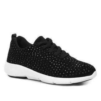 Tênis Couro Shoestock Camurça Comfy Brilho Feminino