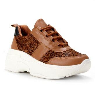 Tênis Couro Shoestock Chunky Pelo Cheetah Feminino