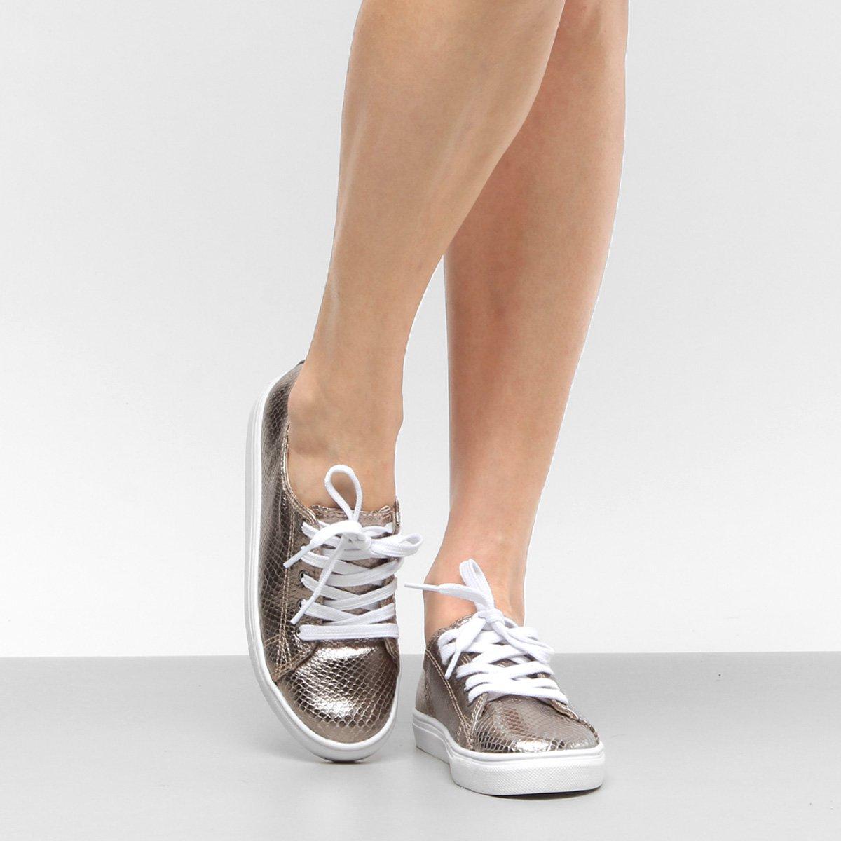 6aa52f441 Tênis Couro Shoestock Cobra Metalizado Feminino | Shoestock