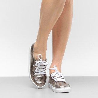 Tênis Couro Shoestock Cobra Metalizado Feminino