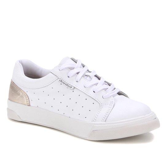 Tênis Couro Shoestock Comfy Furinhos Feminino - Branco+dourado