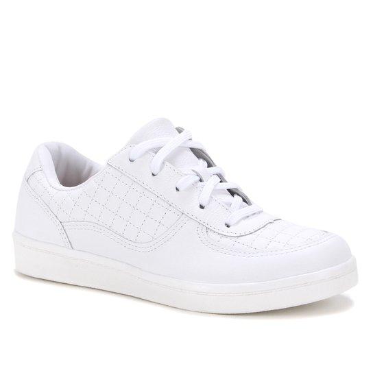 Tênis Couro Shoestock Comfy Matelassê Feminino - Branco