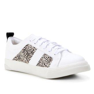 Tênis Couro Shoestock Comfy Pelo Cheetah Feminino