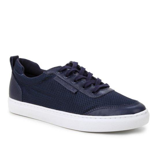Tênis Couro Shoestock Comfy Tela Feminino - Marinho
