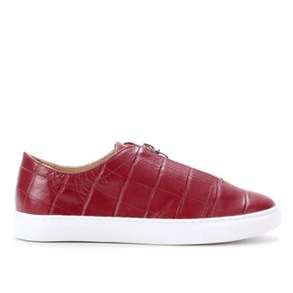 Tênis Couro Shoestock Croco Zíper Feminina
