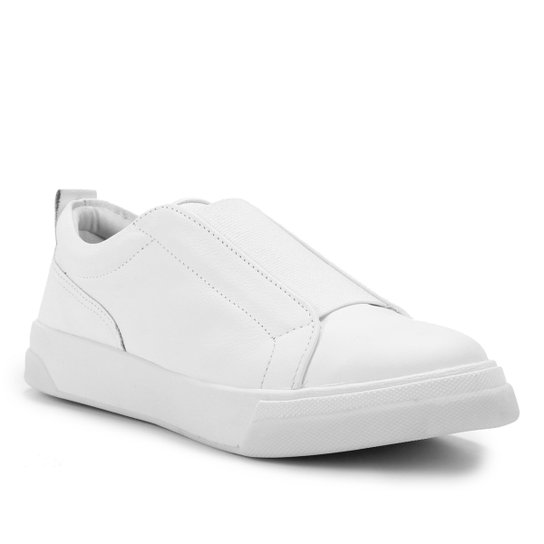 Tênis Couro Shoestock Elástico Feminino - Branco