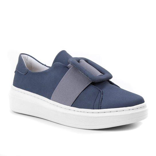 Tênis Couro Shoestock Fivela Feminino - Azul