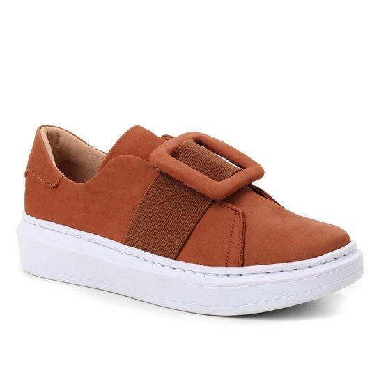 Tênis Couro Shoestock Fivela Feminino - Caramelo