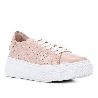 Tênis Couro Shoestock Flatform Perfuros Feminino