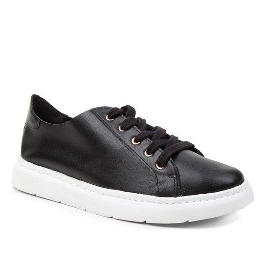 Tênis Couro Shoestock For You Sem Forro Feminino - Preto