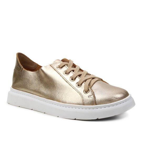 Tênis Couro Shoestock For You Sem Forro Feminino - Ouro