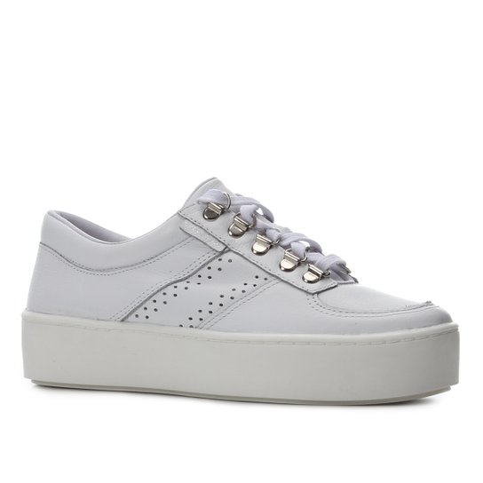 Tênis Couro Shoestock Ilhós Caixa Alta Feminino - Branco