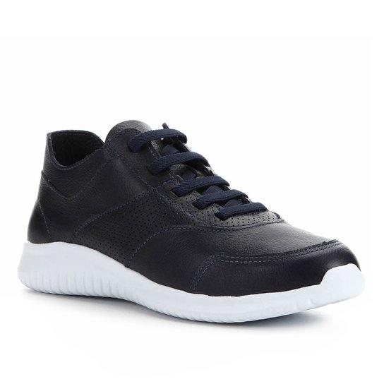 Tênis Couro Shoestock Jogging Confort Feminino - Marinho