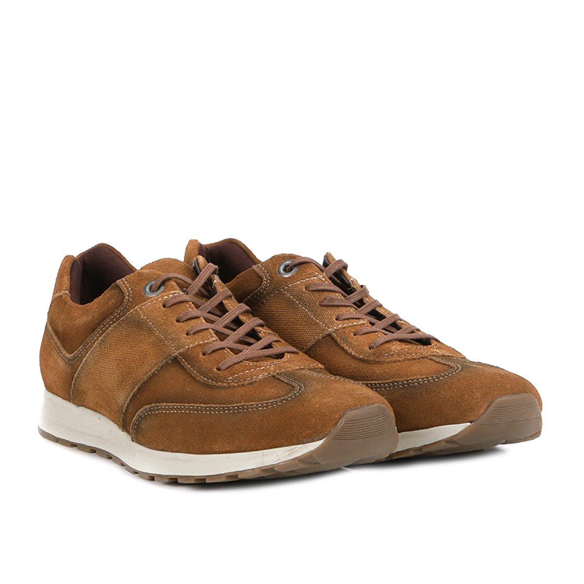 Tênis Couro Shoestock Jogging Masculino - Caramelo - Compre Agora ... 128e0affff2ad