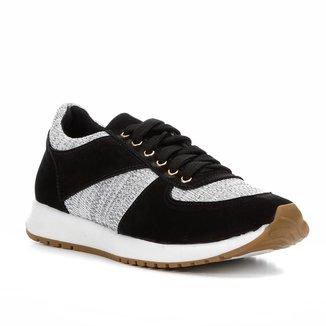 Tênis Couro Shoestock Jogging Recortes Feminino
