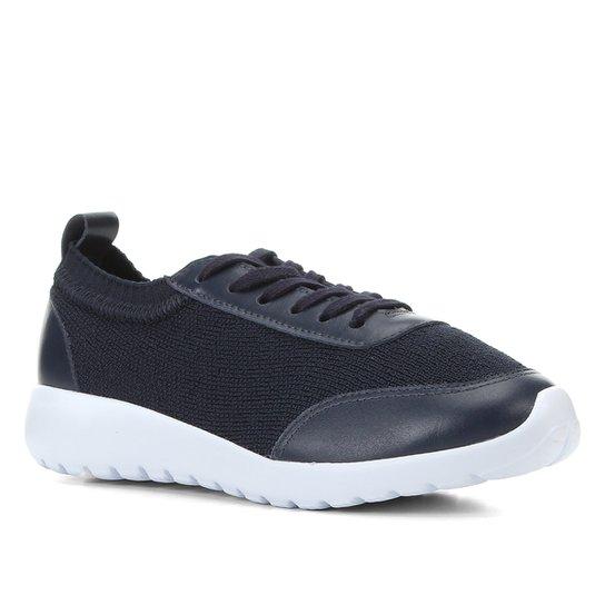 Tênis Couro Shoestock Knit Feminino - Marinho