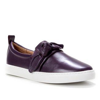 Tênis Couro Shoestock Laço Feminino