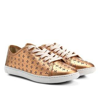 Tênis Couro Shoestock Lasercut Floral Feminino