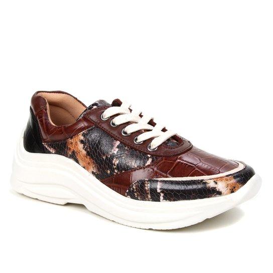 Tênis Couro Shoestock Mix Estampas Feminino - Caramelo
