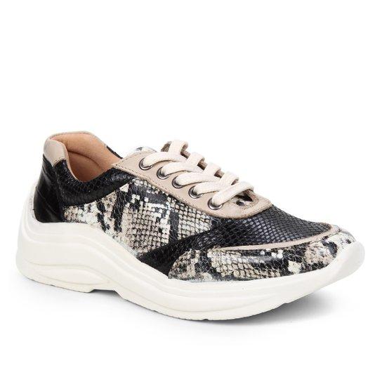 Tênis Couro Shoestock Mix Estampas Feminino - Off White+Preto