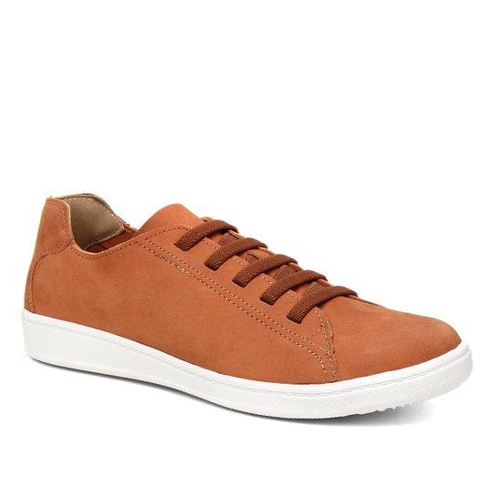 Tênis Couro Shoestock Nobuck Comfort Elástico Feminino - Caramelo