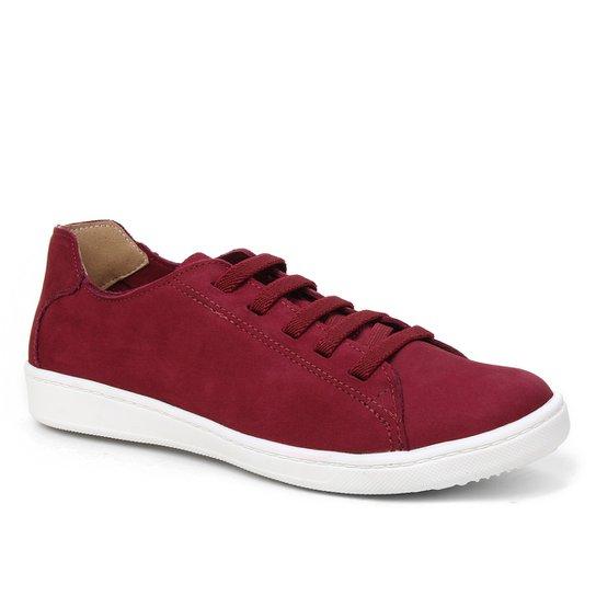Tênis Couro Shoestock Nobuck Comfort Elástico Feminino - Vinho