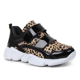 Tênis Couro Shoestock Onça Chunky Feminino
